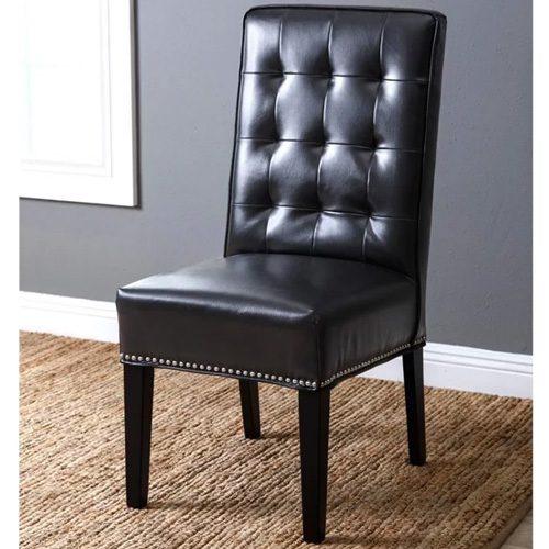 Abbyson Living Hudson Leather Nailhead Trim Dining Chair ...