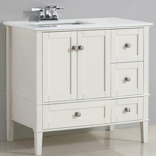 "Bathroom Vanity Light Offset: Pemberly Row 36"" Left Offset Bath Vanity In Soft White"