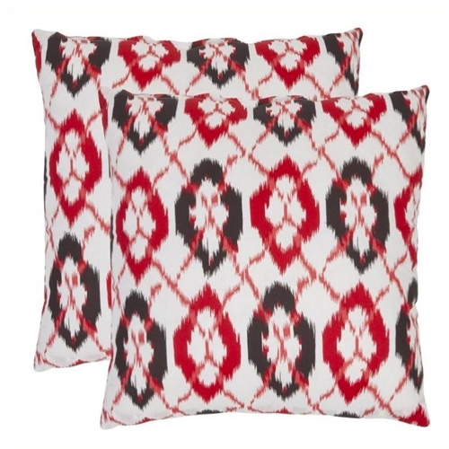 Safavieh Drew 22-inch Cotton Decorative Pillows in Red (Set of 2) BestHomeHQ.com