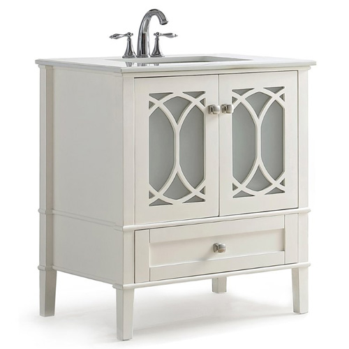 Simpli Home Paige 30 White Quartz Marble Top Bathroom Vanity In White
